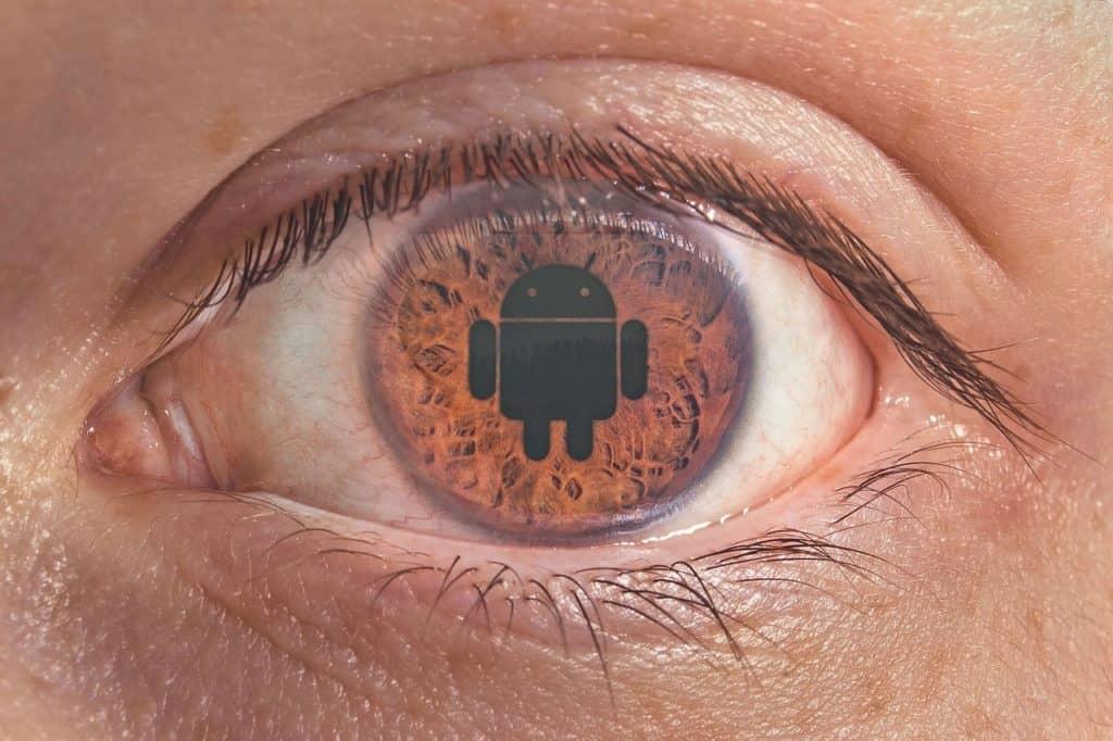 logo android en ojo Tecnología y dispositivos Android